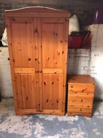 Solid Pine Wardrobe and Bedside Cabinet