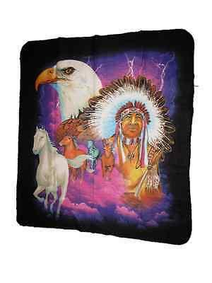Indian Native American Bald Eagle Horse Chief 50x60 Polar Fleece Blanket Throw for sale  Charleston