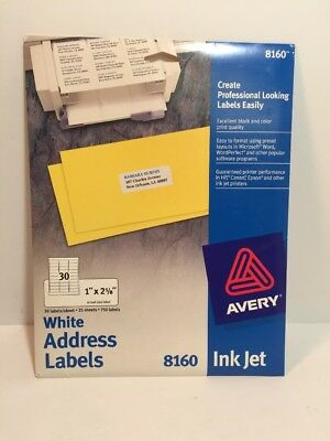New Avery 8160 White Address Labels Ink Jet 1x 2 58 25 Sheets 750 Labels