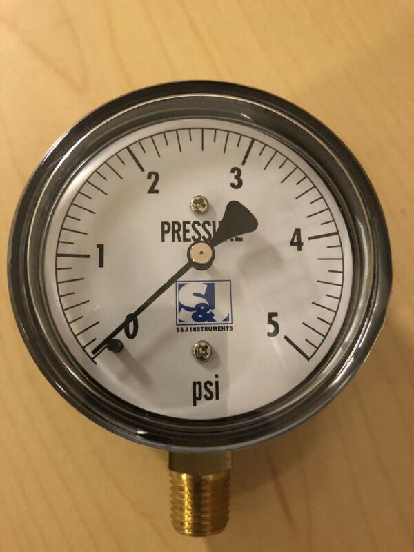 "BULK: Low pressure diaphragm gauge 2-1/2"" face, 1/4"" brass lower mount, 0-5psi"