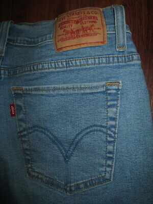 LEVIS 512 Size 8 Perfectly Slimming Capri Stretch Light Blue Denim Jeans Womens
