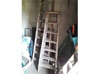 2 x Large Vintage WOODEN STEP LADDERS Steps 7ft & 5ft. Garage Clearout. Buy 1 or both