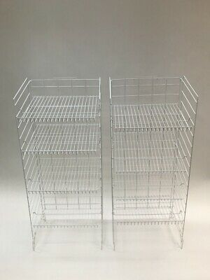Retail Display Racks - White Metal With 4 Adjustable Shelves 2-pack