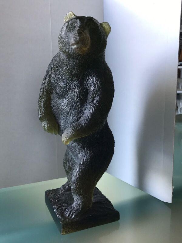 Daum Crystal Green Grizzly Bear Rare