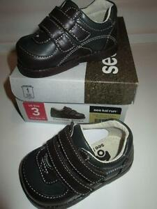 See Kai Run Brown Leather Baby Shoes, size 3 NEW in box