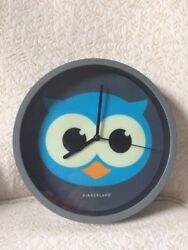 Kikkerland OWL Bird Head Wall Clock Glows In Dark Gray Turquoise Time Watch
