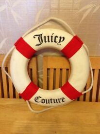 "RARE Juicy Couture 17"" Red Nautical Wall Decor ship boat life preserver ring"
