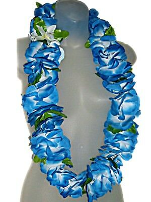 "HAWAIIAN PLUMERIA FLOWERS BLUE SILK DELUXE 42"" HULA GRADUATION LUAU LEI NEW"