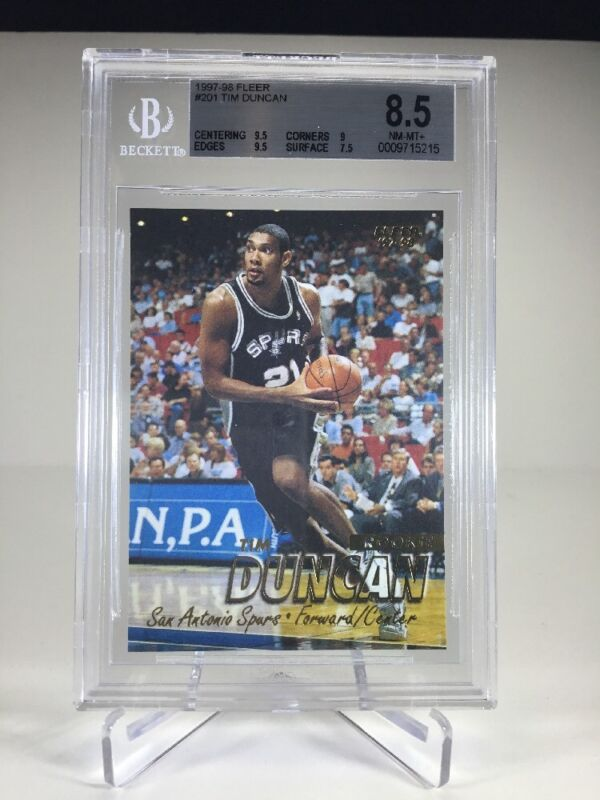 Details About Bgs 85 1997 98 Fleer Tim Duncan Rookie Card Spurs Rc Rare Mvp Roy 5x Champ