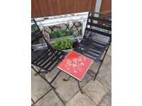 Garden Bistro Set Garden Table 2 Chairs Metal Table Tiled Top Balcony set fold up Chairs
