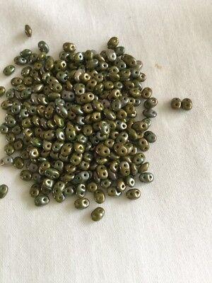 Czech SuperDuo Beads 10 Grams Opaque Green Nebula