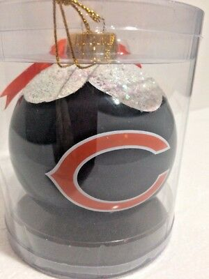 Nfl Ball Cap Ornament (Chicago Bears Football 4 Inch Snow Cap Glass Ball Holiday Ornament)