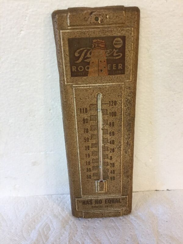 Antique Vtg Tower Root Beer Soda Advertising Thermometer Metal Sign Somerville