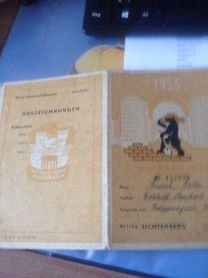DDR  & Dokument - Nationales Aufbauprogramm Berlin 1953 Aufbaukarte, gebraucht gebraucht kaufen  Berlin