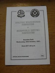 30-10-1991-Bolton-Wanderers-Reserves-v-Sheffield-United-Reserves-4-Pages-Ite