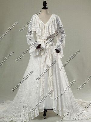 Victorian Lace Vintage Wedding Robe Dress Fairytale Ghost Bride Costume C049