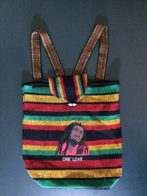 Bob Marley  Embroidered Rasta Jamaican Unisex BackPack Tote Bag