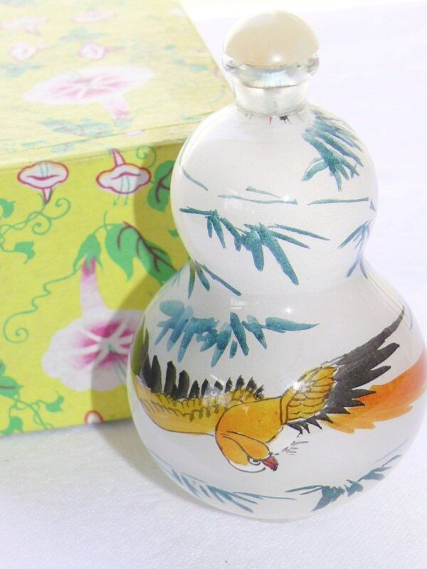 Vintage Chinese Glass Snuff Bottle Reverse Inside Hand Painted Eagle/Hawk Bamboo