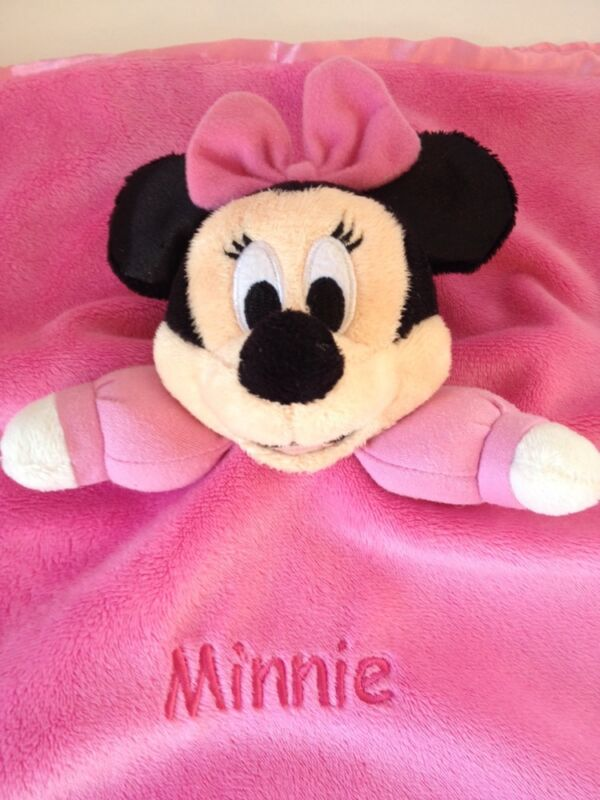 Disney Minnie Mouse Pink Lovey Girl Plush Rattle Security Blanket Satin Trim