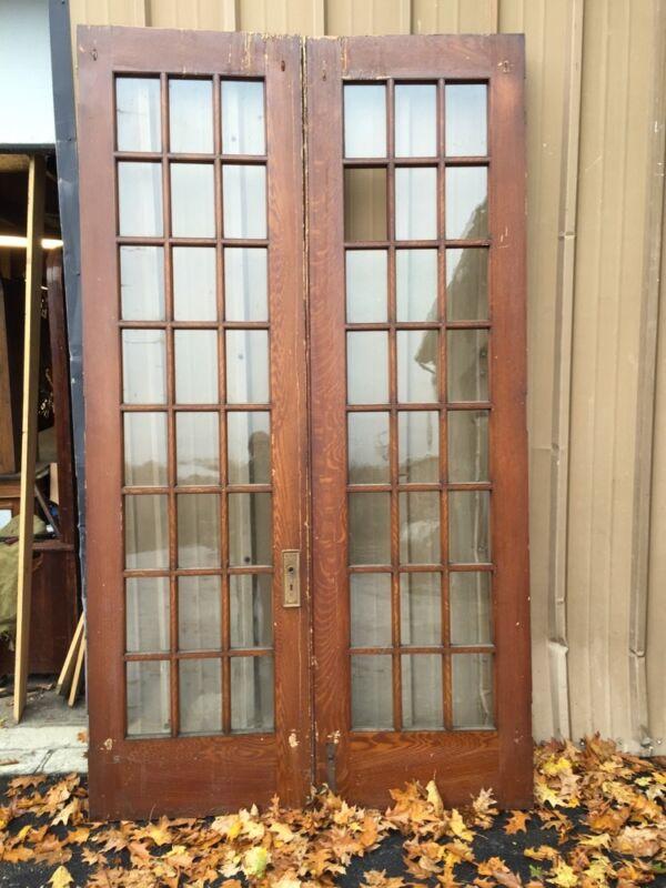 Pd1 Pair Antique Pine Wood Grain Interior French Doors Oversize
