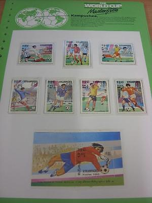 circa 1986 World Cup Mexico,  8 Kampuchea Stamps, Taken From the World Cup Maste