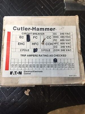 New In Box Cutler-hammer Circuit Breaker Fc3100 Fc 3100 100a Amp 600vac