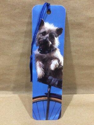 Bookmark Cairn Terrier Puppy Dog in Bike Basket