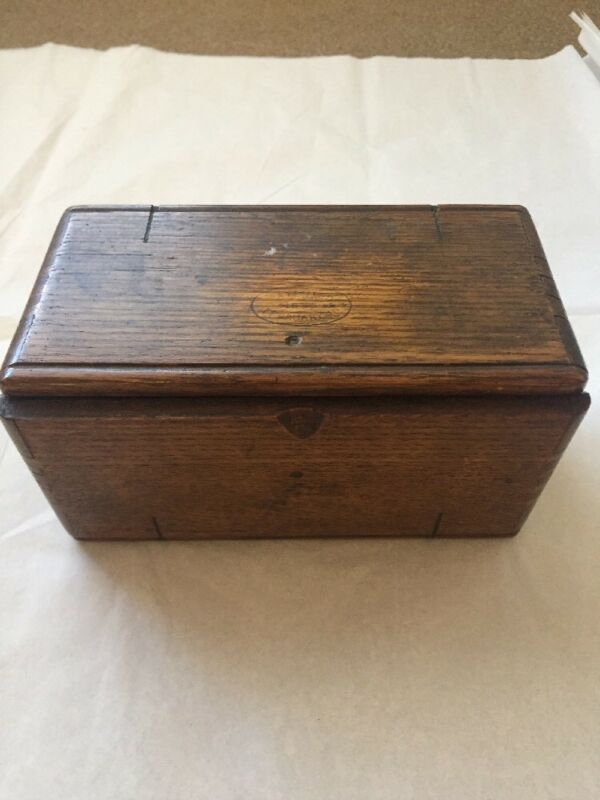 1889 Antique Wood Box Singer Puzzle Patented roll up sewing machine attachments