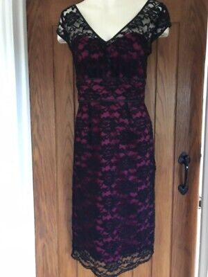 Wedding Dress For Halloween (Lace Dress Black With Cerise Background For Wedding, Occasion, Halloween Size)