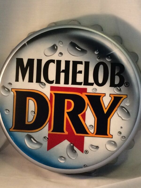 "VINTAGE MICHELOB DRY BEER ADVERTISING BAR MANCAVE ""BOTTLE CAP"" WALL HANGING SIGN"