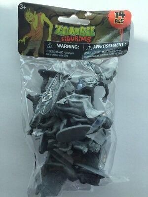 "14 Pieces Halloween Zombies Plastic Gray Zombie Army Men Figures 2"" Play Set NIB"