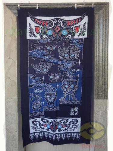 "Folk Art Decor Wall Hanging Batik Tapestry Curtain - The Ancient Elves 62x34"""