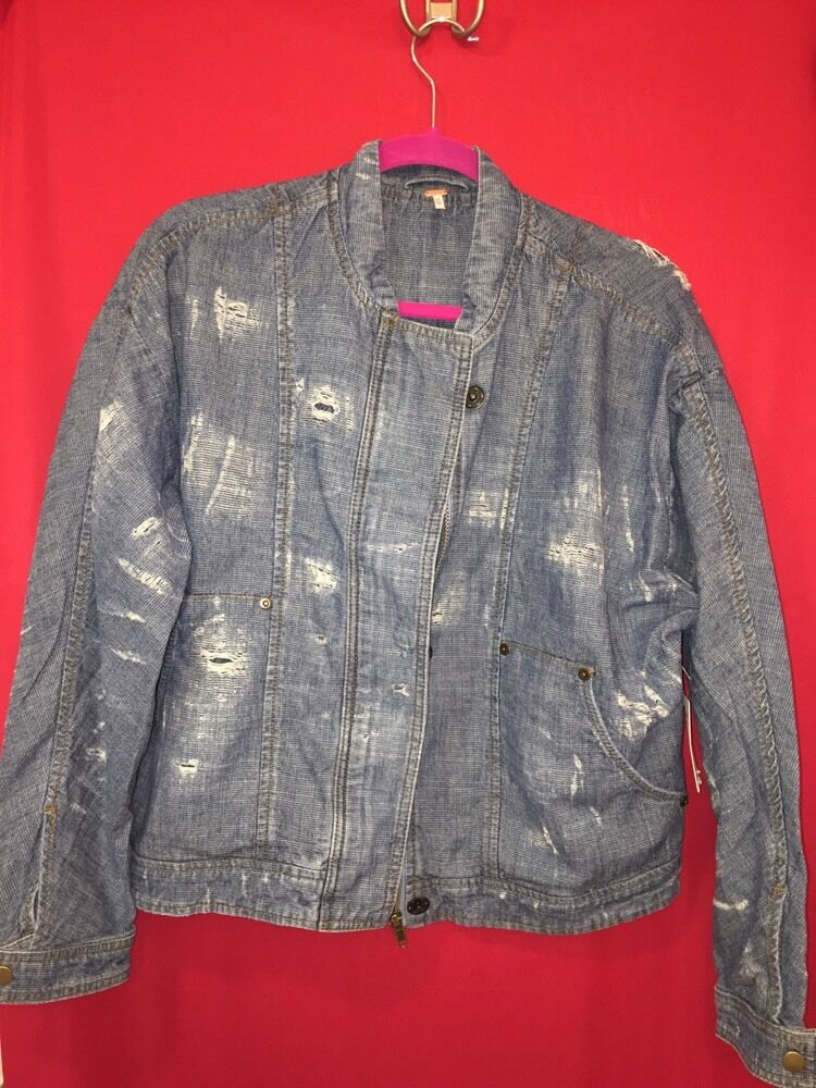 Nwt Free People Distressed Tennis Jacket Size Xs Color Indigo