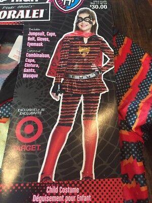 Monster High TORALEI Girl Size Medium Halloween Costume Jumpsuit Cape Mask New