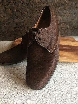 Rare Vintage Men's Pony / Calf Hair Brown Shoes Uk7 Eur41 Coppelia