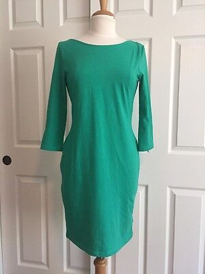 H&M Basic Kelly Green Cotton Knit 3/4 Sleeve Fitted Knee Length Dress Size L