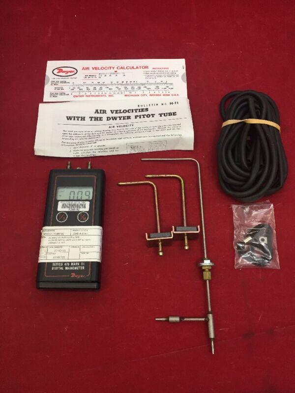 Dwyer Manometer Air Velocity Kit In Case 475-1av Type 1 See Listing
