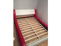 Double bed frame red and cream vinyl