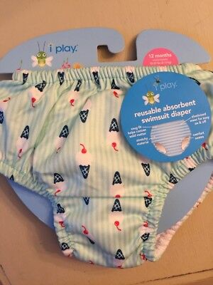 I Play Reusable Swimsuit Diaper Green Ice Cream Ruffled Bottom Sz 12 months NWT