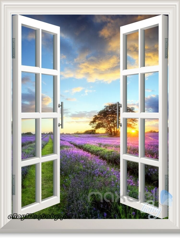 Large Lavender Under Sunset 3d Window View Removable Wall Sticker Decal Decor Ebay