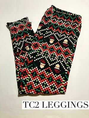 LuLaRoe Minecraft Santa Claus Christmas Holiday Square Black Print Leggings - Minecraft Santa