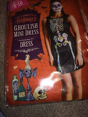 Ghoulish Mini Dress Halloween Fantasy Sexy Costume New Size 8/10 Free Fast -
