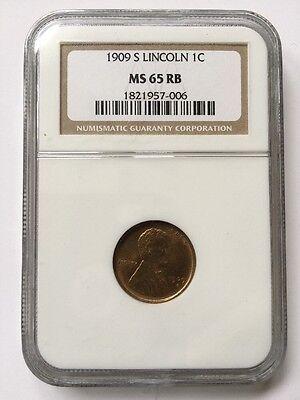 1909-s Lincoln 1c NGC MS65 RB