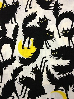 FF74 Ghastlies Black Cat Halloween A Henry Full Moon Cotton Quilting Fabric - Henri Black Cat Halloween