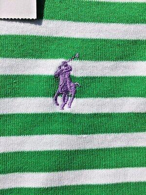 SALE @ LAUREN RALPH LAUREN Polo Green Stripe RUGBY Shirt Top Blouse Womens Sz (Polo Ralph Lauren Sale Womens)