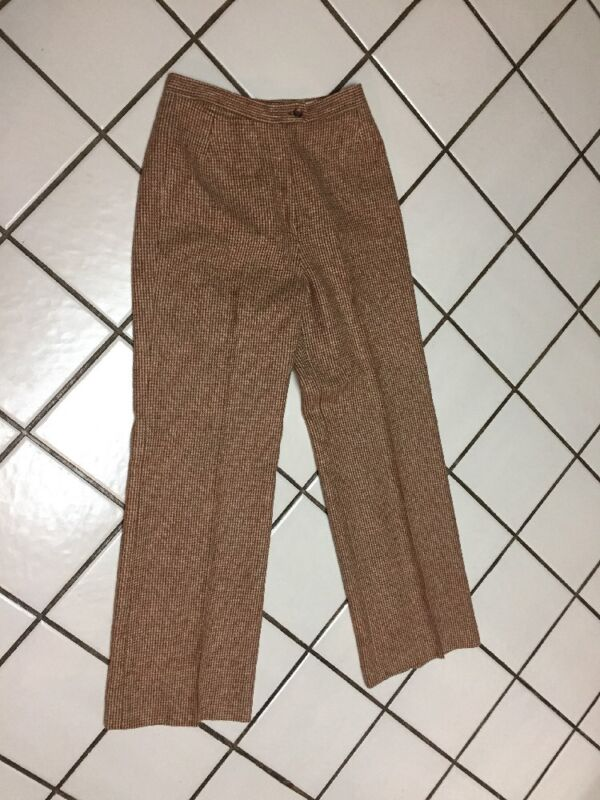 "VTG GORDON of PHILADELPHIA  Rust Check wool Tweed Trouser  Dress Pants_26"" Waist"