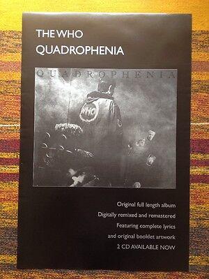 The Who - Quadrophenia Remastered CD Original Uk Promo Poster. Not A Reprint