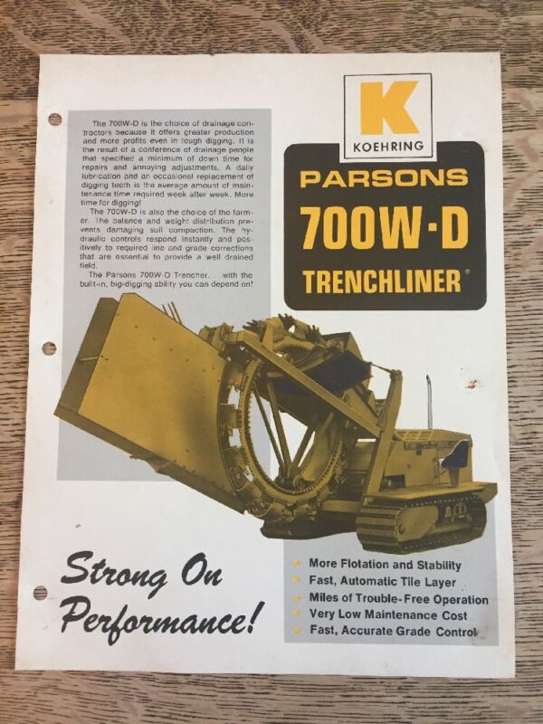 Vintage Koehring Parsons 700W-D Trenchliner Brochure Specifications Sheet Ad