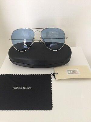 4d337fbc7ed Vintage Giorgio Armani Sunglasses GA 615 Large Aviator C. Silver W  Blue  Lenses