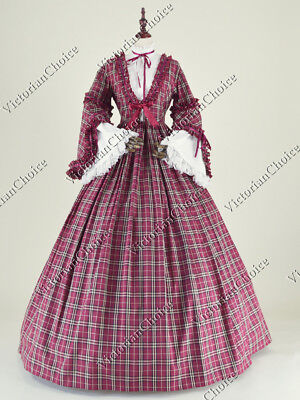 Victorian Civil War Vintage Tartan Dress Pioneer Women Halloween Costume N 158 - Victorian Halloween Costumes Women